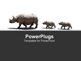 Family of rhinoceros walking in line presentation background