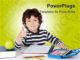 PowerPoint template displaying cute pupil green apple books