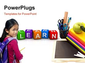 PowerPoint template displaying a school going girl with a number of dices in front