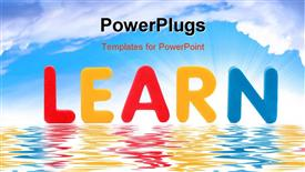 PowerPoint template displaying the word learn with sea in the background