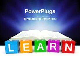 PowerPoint template displaying different color cubes with learn keyword and open book over dark background