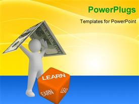 PowerPoint template displaying learn, earn, lead - 3D dice