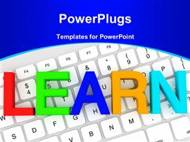 PowerPoint template displaying education concept. Learn Color letters on a white keyboard