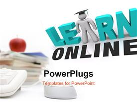 Web browser window shows the words Learn Online and a person with graduation cap powerpoint design layout