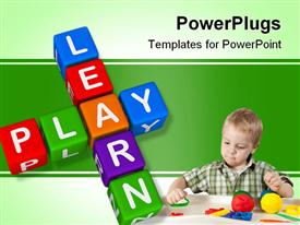 Learn and Play (colorful blocks on white background) powerpoint theme