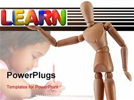 Manikin model holds the multi-colored word learn powerpoint template