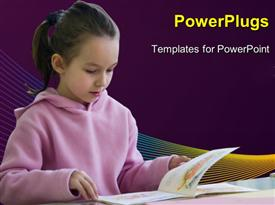 PowerPoint template displaying young girl reading from a book on purple background