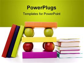 Solid mix of books and apples for good learning foundations powerpoint design layout