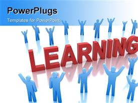 PowerPoint template displaying blue characters round the word learning in red color