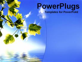 PowerPoint template displaying leavesReflection507 in the background.