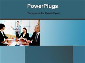 PowerPoint template displaying a number of people in the office with windows in background