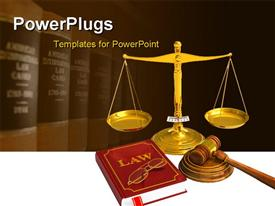 PowerPoint template displaying golden weight scales, code of laws, glasses and wooden mallet in the background.