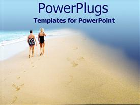 PowerPoint template displaying stroll along the beach in the background.