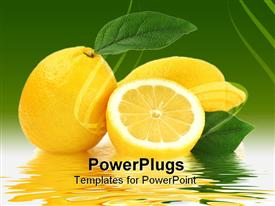 PowerPoint template displaying lemons with leaves with water reflection on green background
