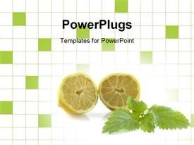 PowerPoint template displaying two halves of a lemon on a white and green checked background