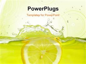 PowerPoint template displaying lemon slice falling into juice with yellow background