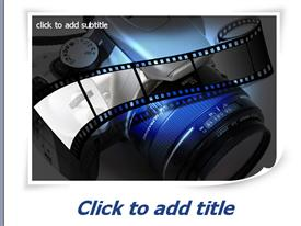 PowerPoint template displaying photography with film and SLR camera lens in blue, white, grey, black