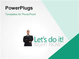 PowerPoint template displaying business man with hands folded across chest on white background