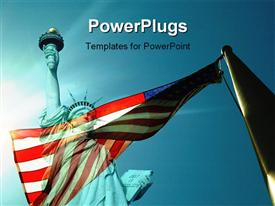 Flag with stature of liberty powerpoint template