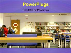 PowerPoint template displaying a library with some students studying in different positions