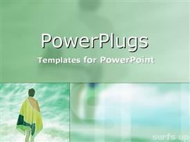 PowerPoint template displaying a multi colored background and a woman standing by the sea