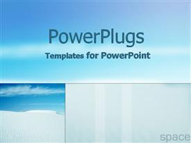 PowerPoint template displaying crystal clear sand and sublime skies in the background.