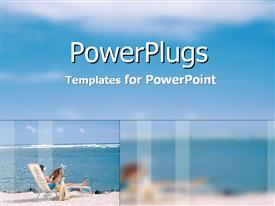 PowerPoint template displaying a lady enjoying on the beach with clouds in the background