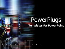 PowerPoint template displaying night life montage with street and car lights on black background