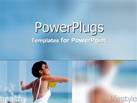 PowerPoint template displaying woman playing ping pong with words Healthy Lifestyle