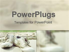 PowerPoint template displaying pair of white sneakers laying on sandy soil beside green vegetation