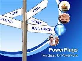 PowerPoint template displaying work Life Balance Signpost in a nice blue sky background
