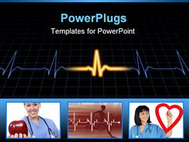 Heart machine display over a grid powerpoint theme