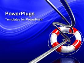 PowerPoint template displaying red and white lifesaver around a series of thin metal wires