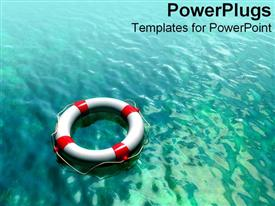 PowerPoint template displaying digitally enhanced lifesaver over blue water in the background.
