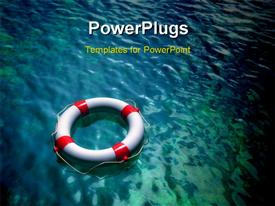 PowerPoint template displaying lifesaver on clear blue and green water surface. Digital depiction in the background.