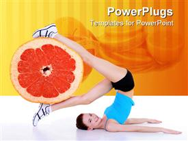 PowerPoint template displaying healthy lifestyle metaphor with woman exercising holding grapefruit in legs