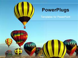 PowerPoint template displaying a collection of balloons together with bluish background