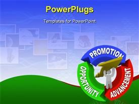 PowerPoint template displaying man lifting an arrow within a circular diagram showing the words Promotion, Advancement and Opportunity, representing a person on a positive career path to higher positions