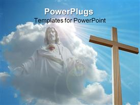 PowerPoint template displaying big wooden cross with a Jesus image in the clouds