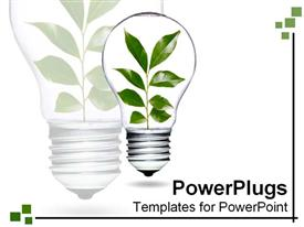 PowerPoint template displaying clear light bulb with leaves growing and flourishing inside in the background.