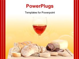 PowerPoint template displaying set of food with red wine