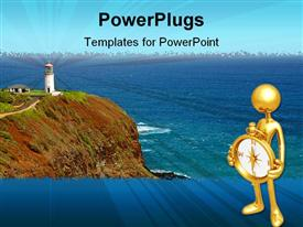 PowerPoint template displaying gold colored human figure holding a compass with a light house