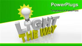 Man with a light bulb and standing in the words Light the Way shines a path for his team, demonstrating that a leader guides his team to success through the darkness powerpoint theme
