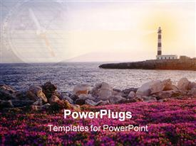 PowerPoint template displaying lighthouse in sun with rocks and purple flowers in foreground