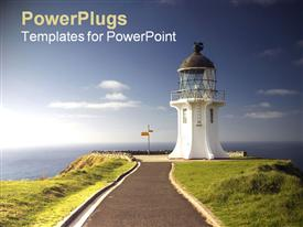 PowerPoint template displaying a beautiful depiction of a light house and sea
