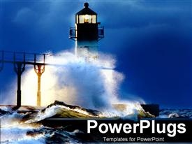 PowerPoint template displaying lighthouse at night in a storm waves crashing beach