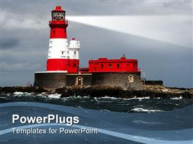 Light house in stormy weather with dark clouds presentation background