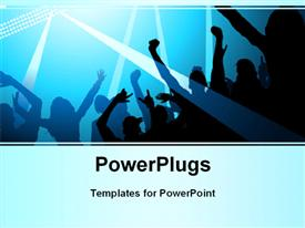 PowerPoint template displaying stage lights and a crowd of fans in the background.