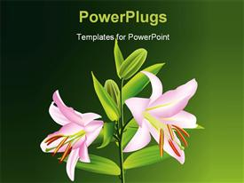 PowerPoint template displaying a number of flowers on a plant and greenish background