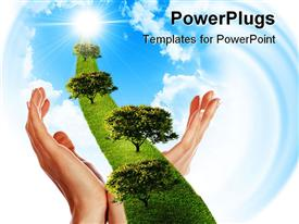 PowerPoint template displaying hand the line of grass trees against the blue sky, symbol of environmental protection